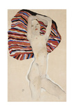 Nude Against Coloured Material Giclee Print by Egon Schiele