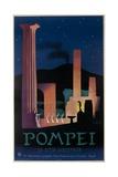 1952 Pompeii Italy Travel Poster Giclee Print