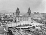 Lima Cathedral and Plaza De Armas from Northwest Photographic Print