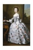 Portrait of a Girl, Full-Length, in a Grey Satin Dress with Elaborate Floral Embroidery Giclee Print by Bartholomew Dandridge