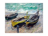 Three Fishing Boats Giclee Print by Claude Monet