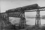 Passenger Train on Posada-Encarnation Trestle Bridge, Mexico Photographic Print by W.H. Jackson