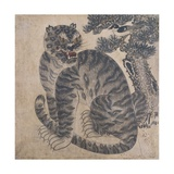A Tiger Beside a Pine Tree Giclee Print