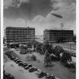 Airship over General Electric Building Photographic Print