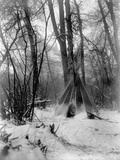 A Tepee in a Snow Covered Forest Photographic Print by E.S Curtis