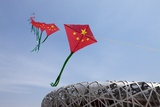 Kites Flying by the Beijing National Stadium Photographic Print