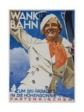 Wank Bahn, German Ski Travel Poster Giclee Print