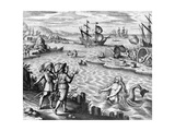 Two Mermaids with Men on an Island Giclee Print by Theodor de Bry