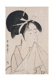 A Bust Portrait of Okita of the Naniwaya Holding a Hand Towel in Her Teeth and Stretching the Cloth Giclee Print by Kitagawa Utamaro