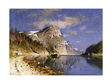 A Steamer in the Sognefjord Giclee Print by Adelsteen Normann