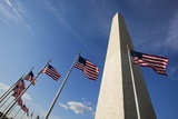 American Flags Encircling Washington Monument Photographic Print by Paul Souders