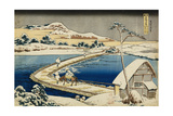 Pontoon Bridge at Sano, Kozuke Province, Ancient View Giclee Print by Katsushika Hokusai