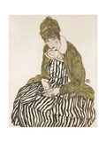 Edith with Striped Dress, Sitting Giclee Print by Egon Schiele