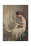 Woman Sewing Wedding Veil