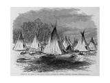 Lodges of the Chiefs in the Indian Village Captured Giclee Print by Theodore R. Dav