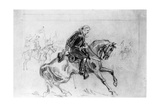 Drawing of General Custer on His Horse Giclee Print
