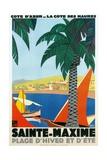 Sainte Maxime, Cote De Azure French Travel Poster Digitálně vytištěná reprodukce