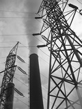 Power Lines at a Power Station Photographic Print by Charles Rotkin