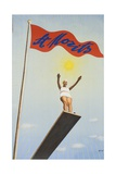 St Moritz Travel Poster, Art Deco Diving Board Woman, 1930's Giclee Print