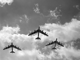1950s Three B-52 Bomber Airplanes in Flight Formation Photographic Print