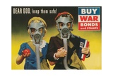 War Bonds Poster, Children in Gas Masks Giclee Print