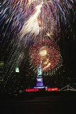 1980s Statue of Liberty Fireworks NYC Photographic Print