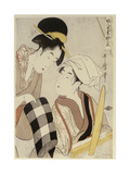 Two Women, One Seated at a Loom and the Other Showing a Roll of Black and White Checkered Cloth Giclee Print by Kitagawa Utamaro