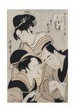 A Triple Portrait of Ohan of the Shinanoya, Choemon and His Wife Okinu Giclee Print by Kitagawa Utamaro