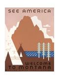 See America Welcome to Montana Giclee Print by Jerome Henry Rothstein