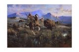 Buffalo Hunt Giclee-trykk av Edgar Samuel Paxson