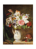 Roses Tulips and Other Flowers in a Porcelain Tankard on a Draped Ledge Giclee Print by Alfred Morgan