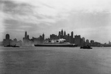 Ocean Liner Passing New York Skyline Photographic Print by Edwin Levick