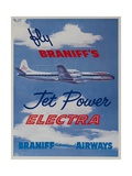 Braniff Airways Travel Poster Fly Braniff's Jet Powered Electra Giclee Print