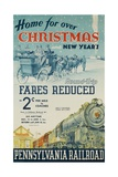 Pennsylvania Railroad Travel Poster, Home for Christmas Impression giclée