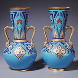 A Pair of Minton Twin-Handled Cloisonne Vases Photographic Print