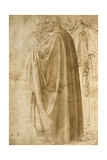 Three Standing Men in Wide Cloaks Turned to the Left (Recto) Giclee Print by  Michelangelo Buonarroti