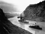 Battleship Moving Through Panama Canal, 1915 Photographic Print