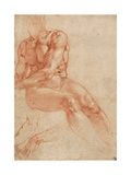 Seated Young Male Nude and Two Arm Studies (Recto) Giclee Print by  Michelangelo Buonarroti