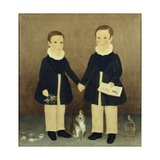 Joseph and Edwin with their Pets Reproduction procédé giclée