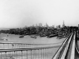 Lower Manhattan from the Top the Brooklyn Bridge Photographic Print