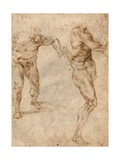 Two Nude Studies of a Man Storming Forward and Another Turning to the Right (Verso) Giclee Print by  Michelangelo Buonarroti