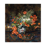 Poppies, Daisies, Buttercups and Other Flowers in a Japanese Imari Vase Giclee Print by Theodore Hannon
