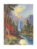 Camping by a Mountain Stream Giclee Print
