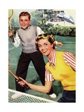 Sister and Brother Playing Tennis Giclee Print