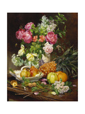 Roses in a Vase, Pears in a Porcelain Bowl and Fruit on an Oak Table Giclee Print by Louis-Marie de Schryver