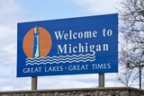 Welcome to Michigan Sign Photographic Print by Paul Souders