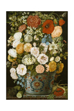 Still Life with Camellias, Poppies, a White Hydrangea, Roses, Carnations, and Other Flowers Giclee Print