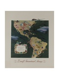 Braniff Airways Travel Poster, the Americas Route Map Giclee Print