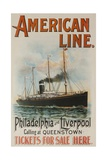 American Line Philadelphia and Liverpool Cruise Line Travel Poster Giclee Print