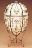 Faberge Kelch Bonbonniere Egg Shown in a Gold Egg-Stand of Scroll Design Photographic Print